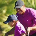 Tiger Woods and 11-year-old son Charlie four shots off the lead at PNC Championship